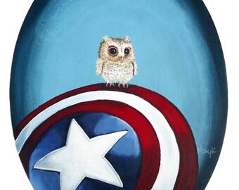 Digital Print - Original Acrylic on Canvas Painting of Baby Owl on Captain America's Shield
