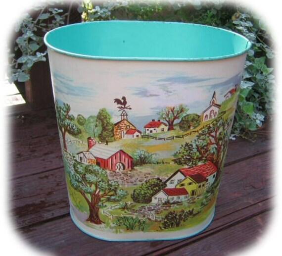 vintage decorative aqua farm scene trash can by rosesetc