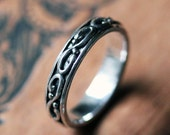 Infinity wedding band - swirl - sterling silver ring- infinity - oxidized - wrought collection - unisex wedding - mens ring - made to order