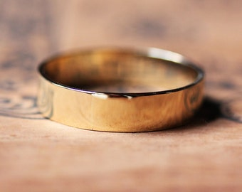 18k yellow gold band, mens gold wedding band, recycled gold wedding ring, flat wedding band, 5mm wide band, unisex wedding ring, custom made