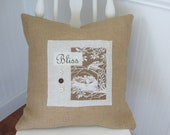 BLISS Antique Bird Image French Country BURLAP PILLOW Cover