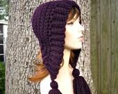 Womens Crochet Hat Womens Hat Crochet Hood Tassel Hat in Eggplant Purple Crochet Hat - Purple Hat Purple Hood Womens Accessories Winter Hat