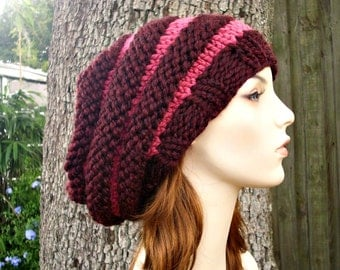 Knit Hat Womens Hat Slouchy Beanie - Oversized Beehive Beret Hat in Raspberry Wine Knit Hat - Womens Accessories