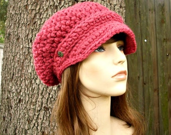 Raspberry Pink Newsboy Hat Womens Hat Slouchy Hat - Crochet Newsboy Hat Pink Crochet Hat - Pink Hat Womens Accessories