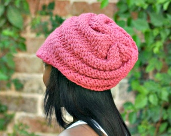 Knit Hat Pink Womens Hat Pink Newsboy Hat - Swirl Beanie with Visor in Raspberry Pink Knit Hat - Pink Hat Pink Beanie Womens Accessories