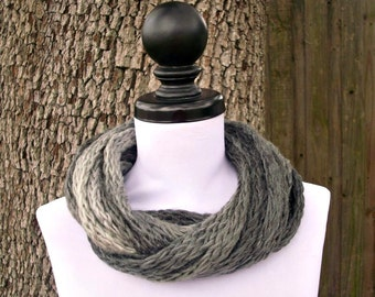 Circle Scarf Infinity Scarf Knit Cowl - Infinity Cowl in Zebra Charcoal Grey Cream Grey Scarf Grey Cowl Womens Accessories - READY TO SHIP