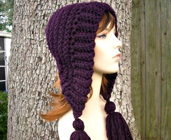 Womens Crochet Hat Womens Hat Crochet Hood Tassel Hat in Eggplant Purple Crochet Hat - Purple Hat Purple Hood Womens Accessories Winter Hat