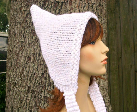 White Pixie Hat Celebration Metallic White Knit Hat White Womens Hat - White Hat Chunky Knit Hat Fall Fashion Womens Accessories Winter Hat