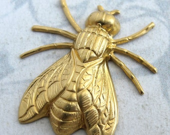 Brass Fly Charms (4X) (M743)