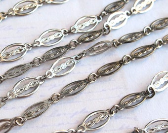 Vintage Rodium Plated On Steel Filigree Designer Chain (102 Inches) (C593-A)