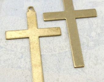 Brass Engraving Cross Pendant (4X) (M797)