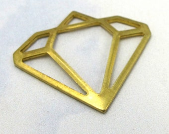 Brass Contour Diamond Charms (8X) (M572)