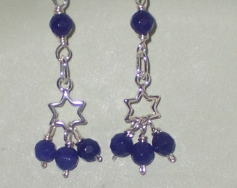 Star Chandelier Earrings and Blue Stones on Sterling Silver