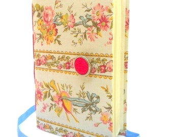 Writing journal, journal notebook, hand bound, lined paper, pink, blue, flowers, personal journal, journal diary, girls journal