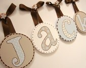 5 Round Baby Nursery Hanging Wall Letters reserved for sarah kucharczyk