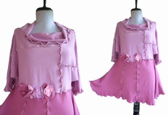 Floral Sweater Tunic Medium M/L Large Eco Friendly Recycled Womens Handmade Clothing Pink Ruffled Roses