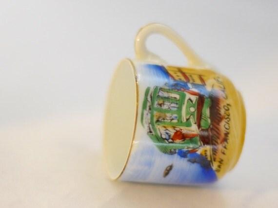 Estate Vintage Antique San Francisco Souvenir Miniature Porcelain Cup Free Shipping