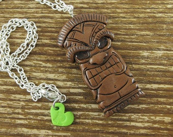 Tiki Statue Polymer Clay Necklace