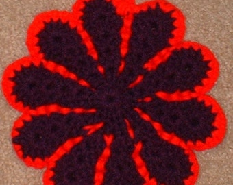 Hot Pad, Pot Holder, Purple and Red Daisy Shaped, Crochet