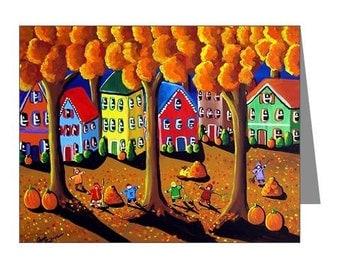 Fall Autumn Kids Rake Leaves Whimsical Folk Art Fun Blank Note Cards Pk of 10