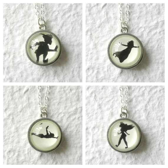 Peter Pan Wendy and Tinker Bell Silhouette Shadow Double Sided Petite Necklace - Inspired from Disney's Peter Pan PICK Your two faves
