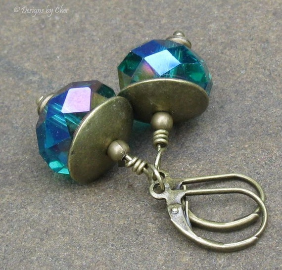 Emerald Crystal Earrings, Antique Brass Leverback Earwires... May Birthday, Holiday Fashion