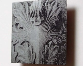 Metal artwork, original photograph, Classical carved stone architectural detail, photo on etched zinc metal wall art decor