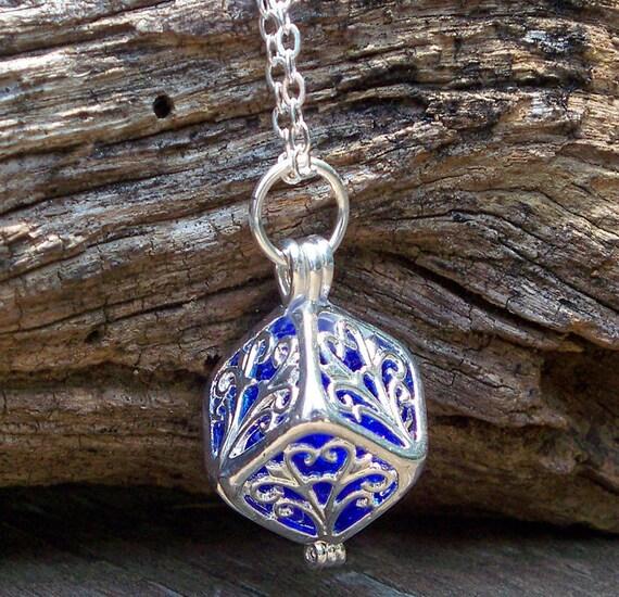 Recycled Noxzema Cobalt Bottle Silver Filigree Box Necklace