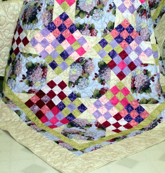 """Patchwork lap Quilt in lavender and creme Hydrangeas and Raspberries 70"""" x 70"""" ON SALE"""