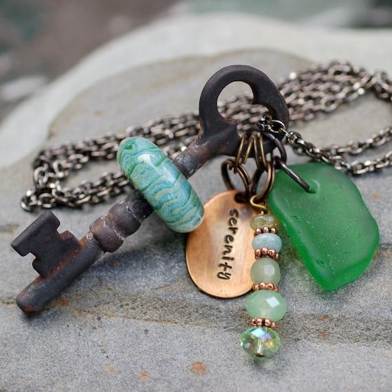 Skeleton Key Necklace, Boro Lampwork Glass Beaded, Steampunk Jewelry - Serenity