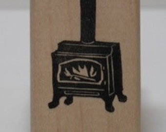 Wood Stove with Fire rubber stamp