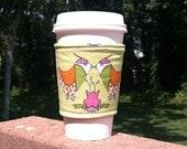 Fabric coffee cozy / cup sleeve / coffee sleeve  / reusable cup cozy - Smooching partridge birds