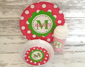 Personalized Pink and Green Tableware Set