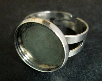 5 14mm bezel ring blanks, antique silver plated, CO14