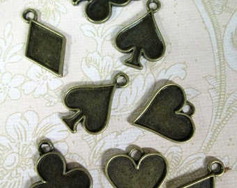 8 brass plated  poker charms, cute alice in wonderland  playing card pendants