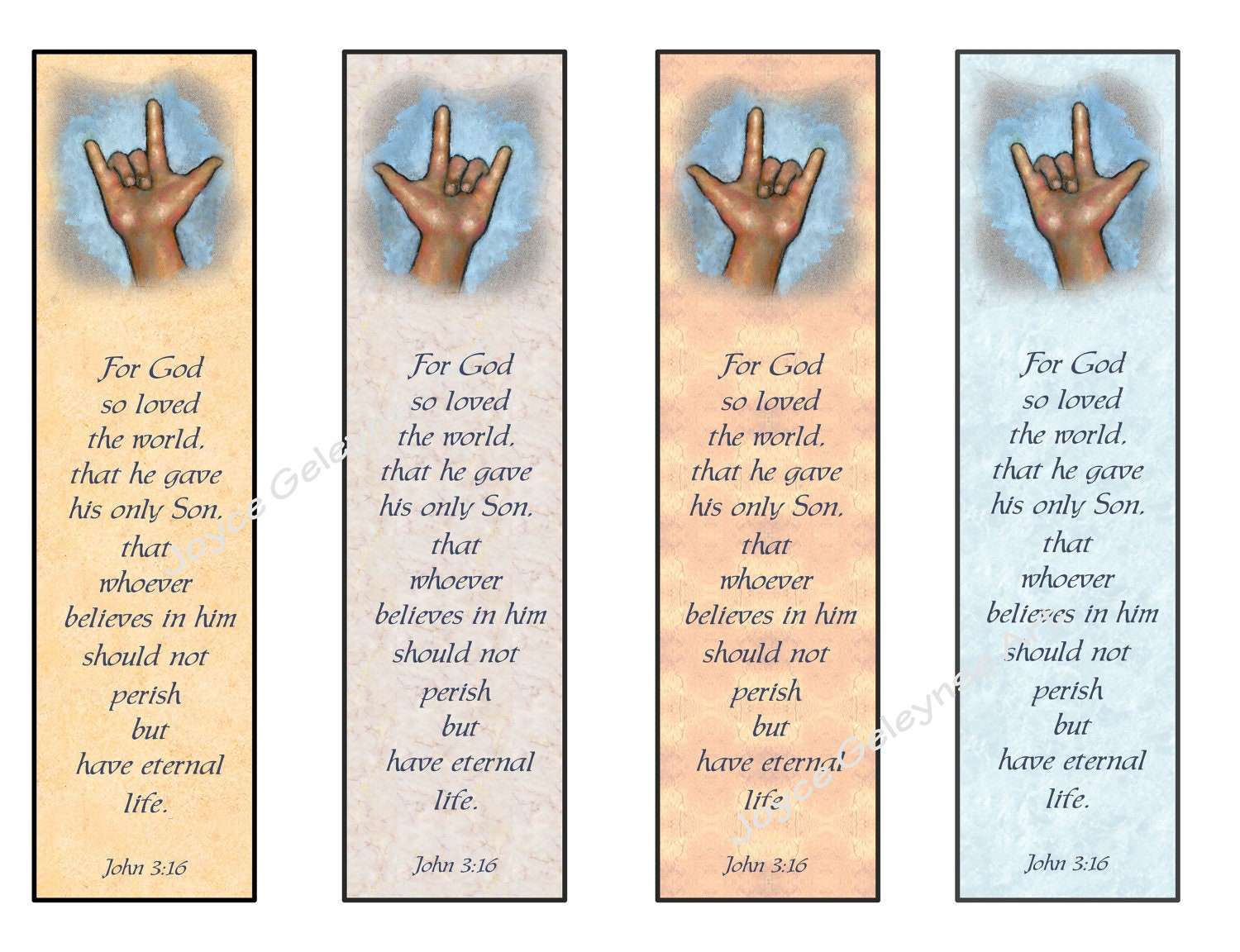 Instant Printable Bookmarks LOVE Sign Language Bible Verse