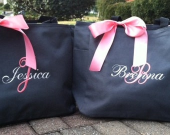 Personalized Monogrammed Tote bags bride bridesmaid gifts - set of 8, wedding favors