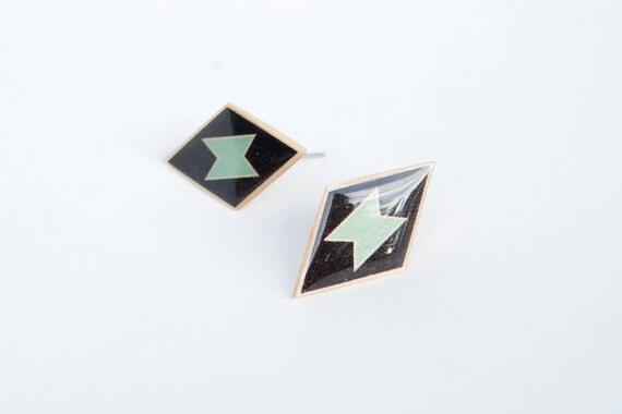 Geometric Diamond Posts - Modern Tribal Earrings in Black and Mint