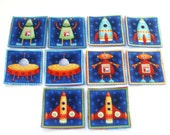 Cloth Memory Matching Game - Quiet Travel Activity - Set of 10 - Space Robots n Rockets