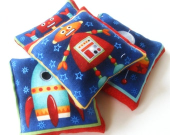 4 Mini Bean Bags - Sensory Toy / Party Game / Party Favors - Beanbag Toss Game - Outer Space Rocketships Robots