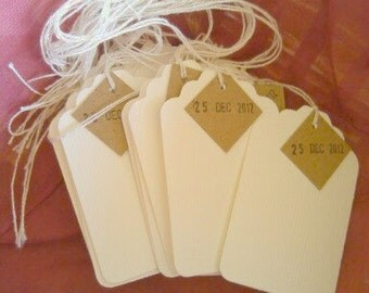 Date Tags, Gift Tags, Set of 25, Price Tags, Holiday Tag, Wedding Favor