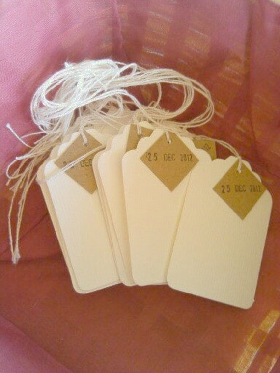 date gift tags, stamped date tags,  set of 25