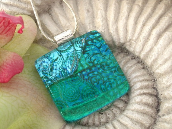 Emerald Aqua Necklace -  Contemporary Jewelry - Dichroic Glass Pendant - Dichroic Fused Glass Jewelry -Fused Glass Necklace 070112p105