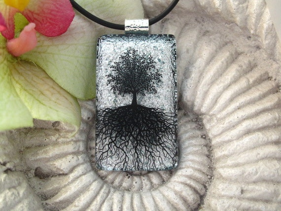Silver & Black Tree Necklace - Tree Pendant -  Dichroic Glass Necklace - Tree of Life - Fused  Dichroic Glass Jewelry - 071312p115