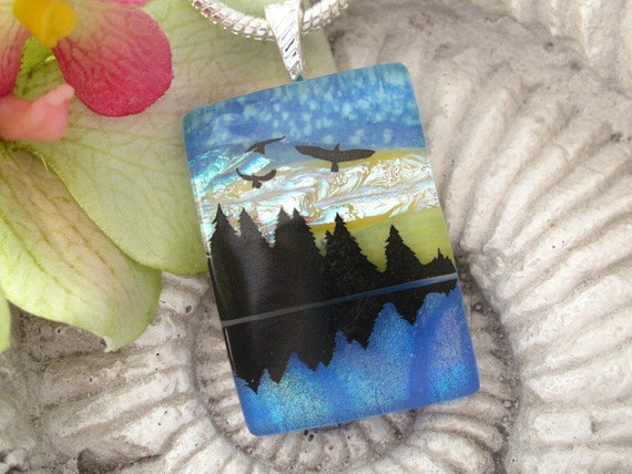 Dichroic Necklace - Mountain Lake - Necklace -Dichroic Fused Glass Jewelry - Nature - Dichroic Pendant - Dichroic Necklace- 071712p106