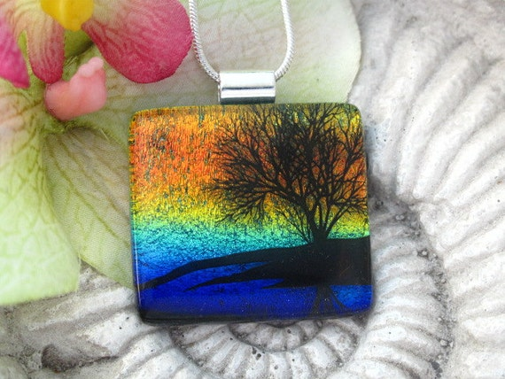 Dichroic Glass Pendant  Jewelry - Reflection Tree - Dichroic Fused Glass Jewelry -  Necklace - Fused  Glass Pendant - 071712p115