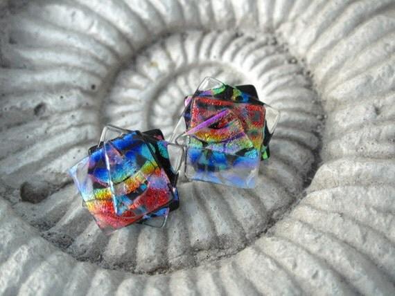 Confetti Stud Earrings - Dichroic Glass Earrings -Dichroic Glass -  Post Earrings - Glass Earrings -  Dichroic Stud Earrings 071812e100