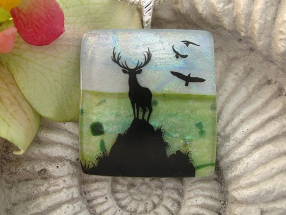 Elk Necklace -  Dichroic Necklace - Dichroic Fused Glass Jewelry - Fused Glass -  073112p100