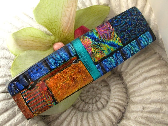 Large Size - Hair Barrette - French Barrette - Color Burst  - Fused Dichroic Glass Barrette -  Fused Glass 081912b101