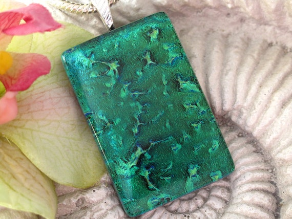Emerald Green Necklace - Emerald Green Jewelry - Emerald Dichroic Necklace - Fused Glass Jewelry Limited Edition 08221p109